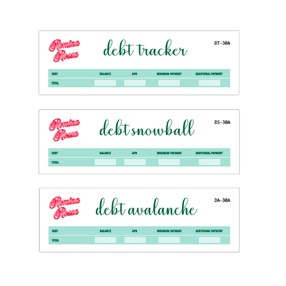 March Debt Tracker / Debt Snowball / Debt Avalanche | 7x9, 8.5x11, Petite Monthly Planner