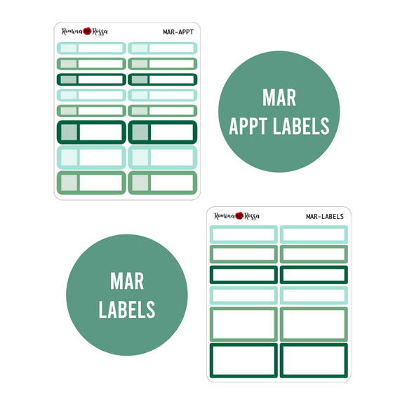 March Monthly Labels | EC & Plum Paper 7x9 Planner