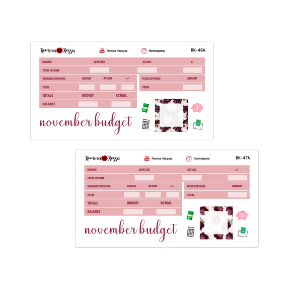 November Budget Kit | 7x9, 8.5x11 & Petite Monthly Planner