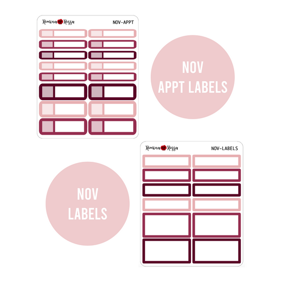 November Monthly Labels | EC & Plum Paper 7x9 Planner