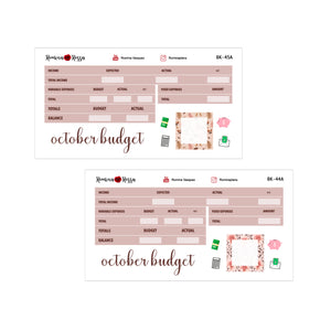 October Budget Kit | 7x9, 8.5x11 & Petite Monthly Planner