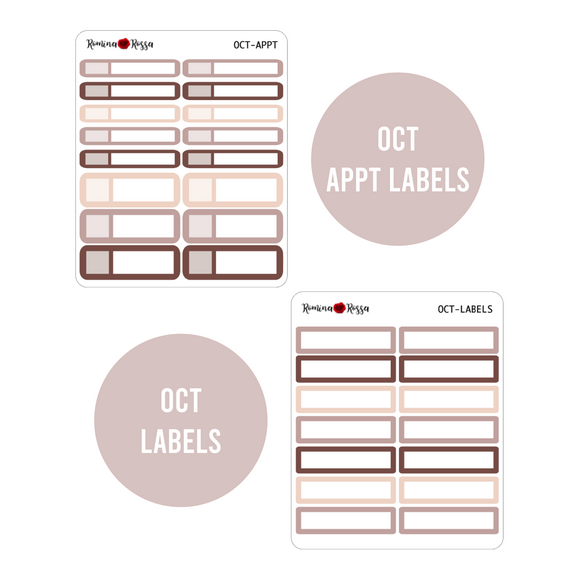 October Monthly Labels | EC & Plum Paper 7x9 Planner