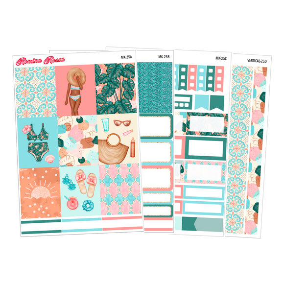 Relax in Paradise - Weekly Sticker Kit Sheets (FOILED & NON FOILED)