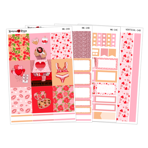 Valentine's Day - Weekly Sticker Kit Sheets (FOILED & NON FOILED)
