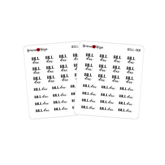 Bill Due Script Stickers - Decorative Planner Stickers