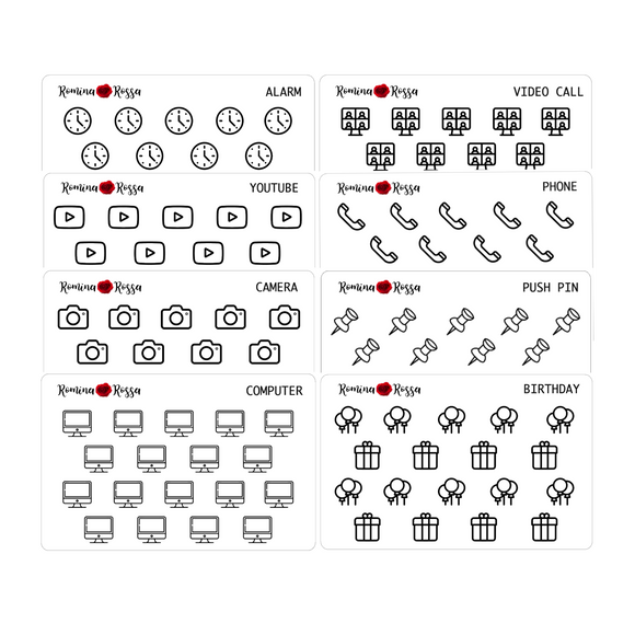 Foiled Icon Stickers (Volume 2) - Decorative Planner Stickers