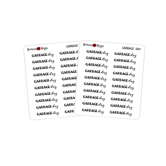 Garbage Day Stickers - Decorative Planner Stickers