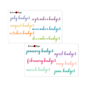 Monthly Budget Script Stickers - Colorful & Black | Planner Stickers