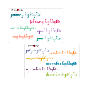 Monthly Highlights Script Stickers - Colorful & Black