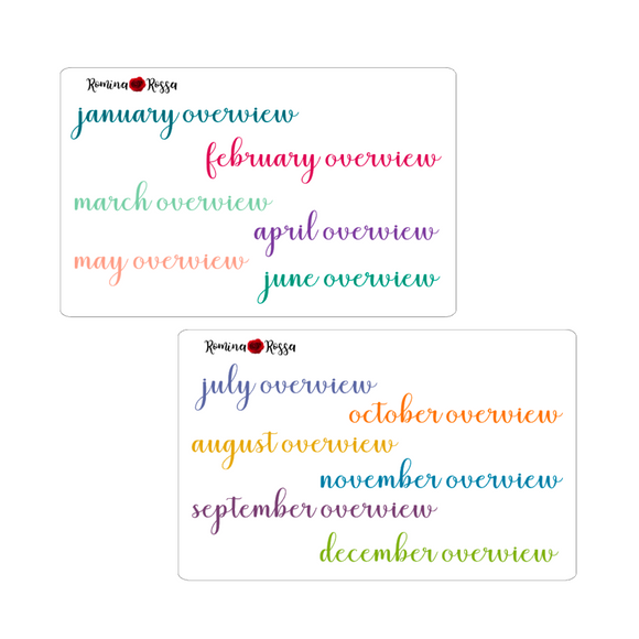 Monthly Overview Script Stickers - Colorful & Black