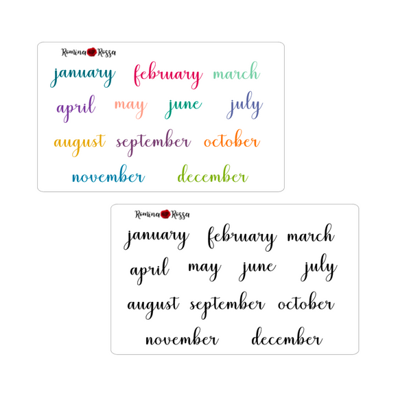 Monthly Script Stickers - Colorful & Black