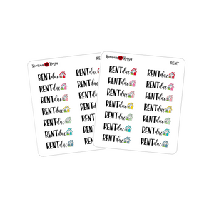 Rent Due Stickers - Decorative Planner Stickers
