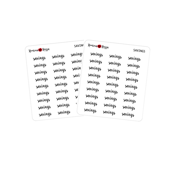 Savings Script Stickers | Planner Stickers