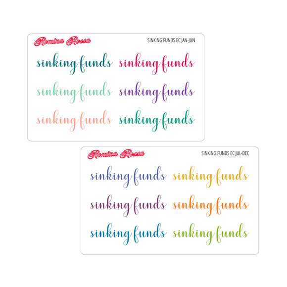 Sinking Funds Script Stickers - Colorful & Black