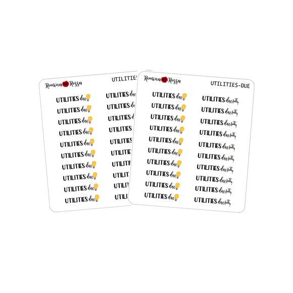 Utilities Due Stickers - Decorative Planner Stickers
