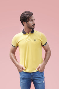 Mustard Polo with Tipped Sleeves
