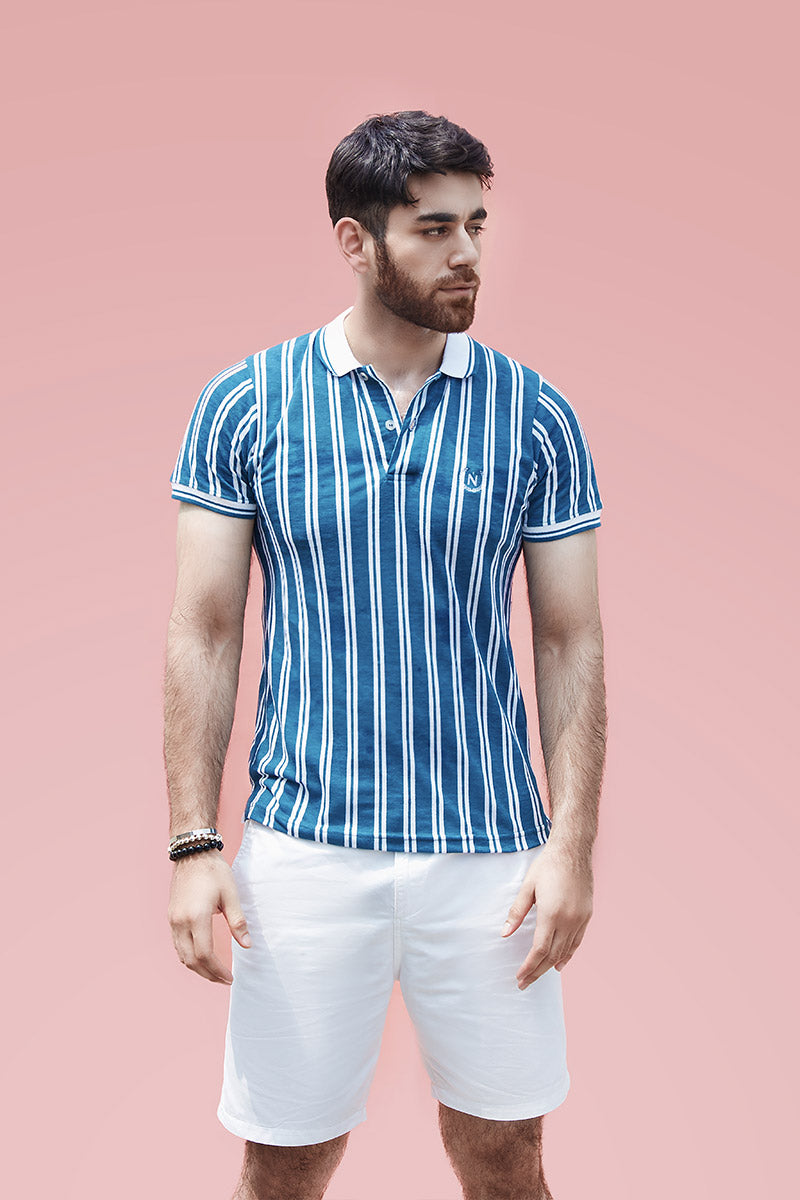 Blue Striped Polo