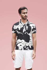 Black Abstract Print Shirt