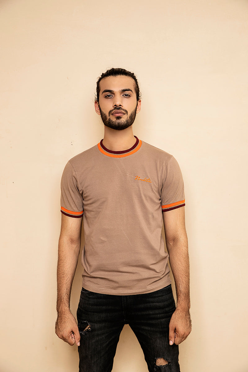 Brown T-Shirt with Contrast Tipping