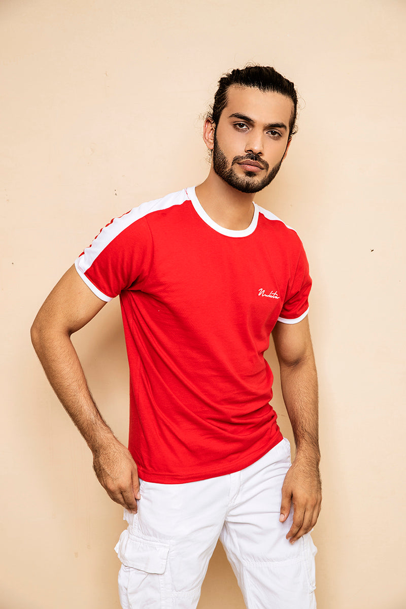 Red T-shirt with White Shoulder Panel