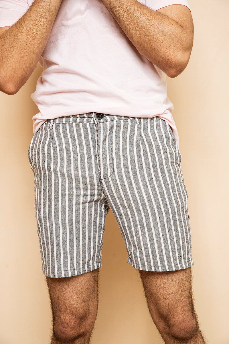 Grey Striped Shorts