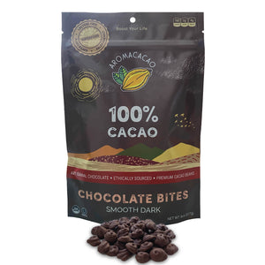 100% Aromacacao Dark Chocolate Bites Smooth Dark Back Aroma Cacao