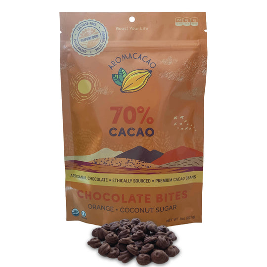 70% Aromacacao Dark Chocolate Bites Orange and Coconut Sugar Paleo Aroma Cacao