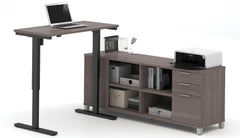L-Shaped Standing Office Desk in Brown w/ Drawers & Shelves