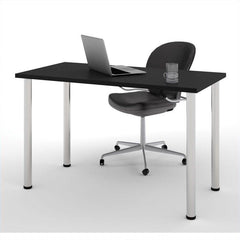 Black Office Desk with Silver Legs