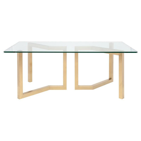 Glass-Top Desk w/ Gold-Brushed Steel Zigzag Legs