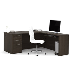 Brown L-Shaped Office Desk w/ Drawers