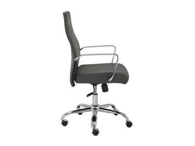 Modern Gray Leather Office Chair with Chrome Base