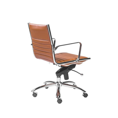 Dirk Cognac Leather & Chrome Low Back Modern Office Chair