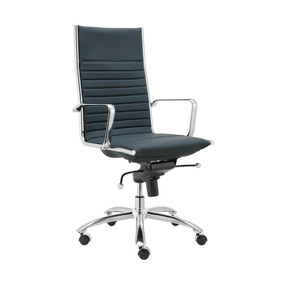 Blue Leather & Chrome High Back Modern Office Chair
