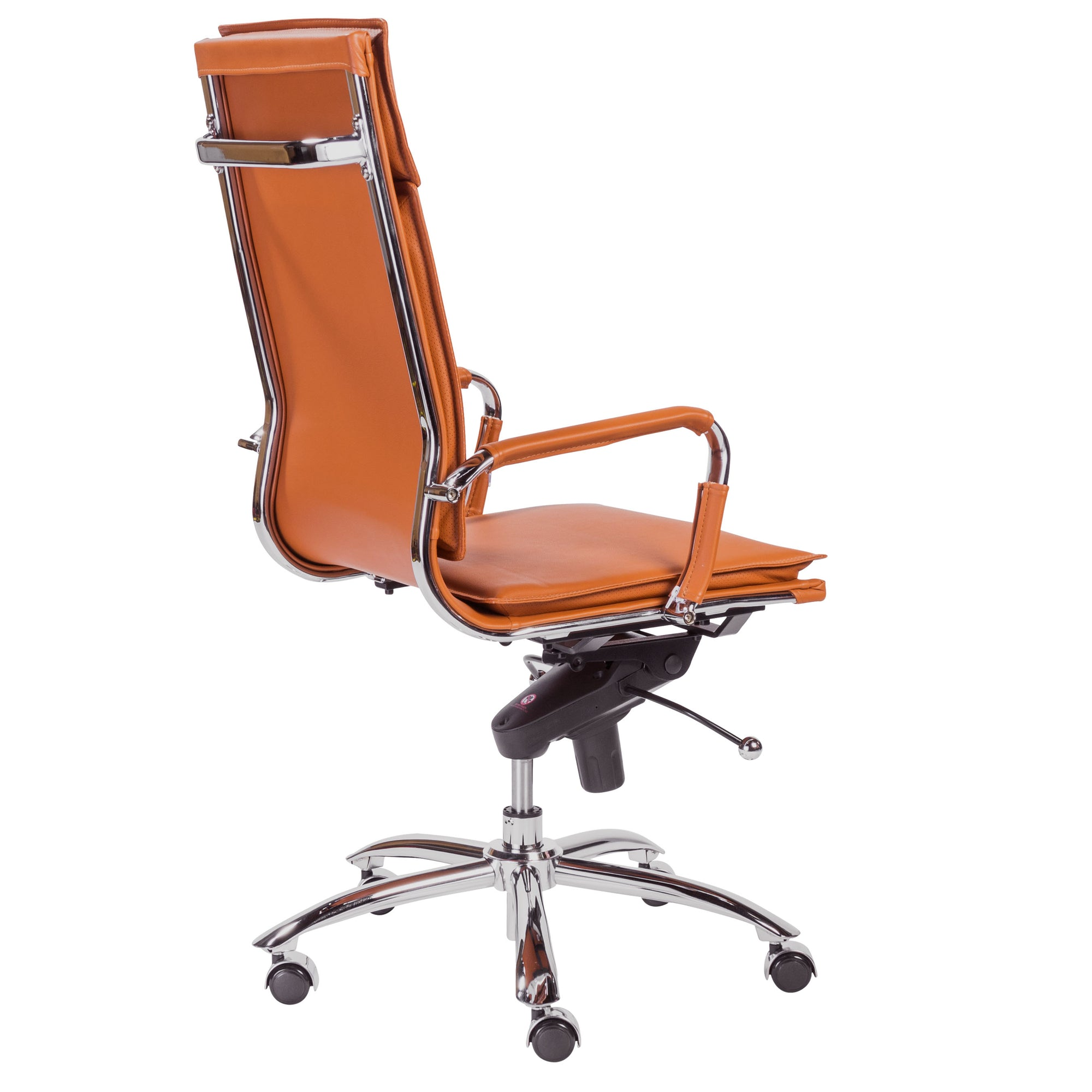 Gunar High Back Leather & Chrome Modern Office Chair in Cognac