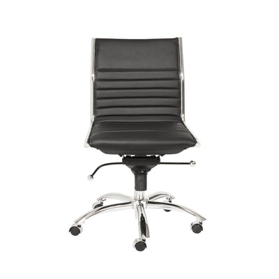Armless Black Leatherette Modern Office Chair