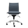 Armless Blue Leatherette Modern Office Chair