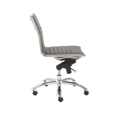 Armless Gray Leatherette Modern Office Chair