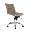 Armless Taupe Leatherette Modern Office Chair