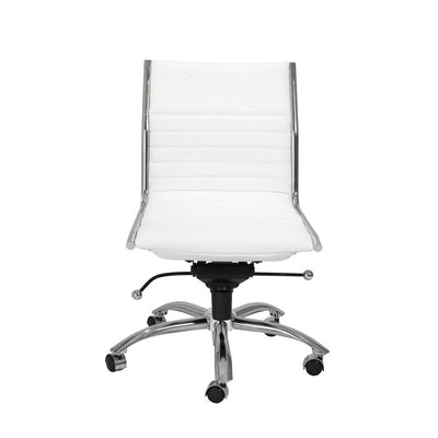 Armless White Leatherette Modern Office Chair