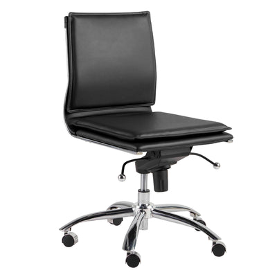 Leatherette Armless Office or Conference Chair with Low Back