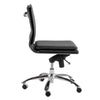 Black Leatherette Armless Office or Conference Chair with Low Back