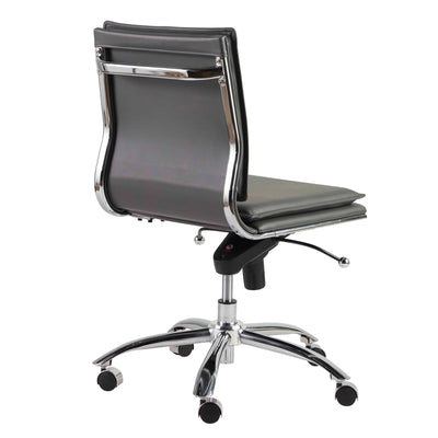 Gray Leatherette Armless Office or Conference Chair with Low Back