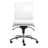 White Leatherette Armless Office or Conference Chair with Low Back