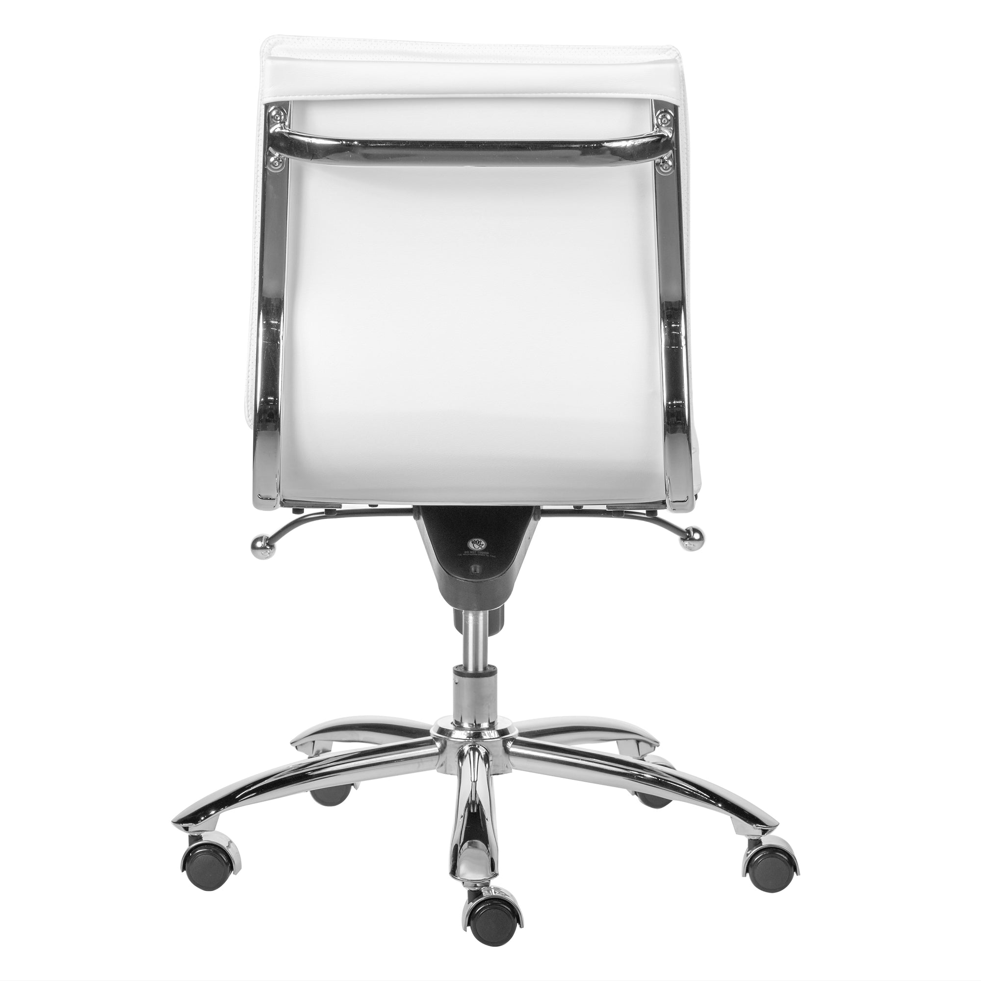 White Leatherette Armless Office or Conference Chair with ...