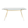 "Modern 60"" Executive Glass Desk with Matte Brushed Gold Frame"