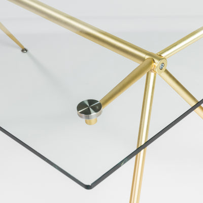 "Modern 66"" Executive Glass Desk with Matte Brushed Gold Frame"
