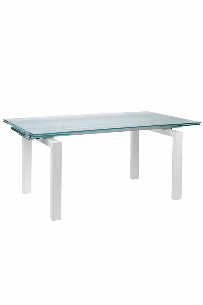 Frosted Glass Executive Desk Or Conference Table With White Frame U0026  Extending Top