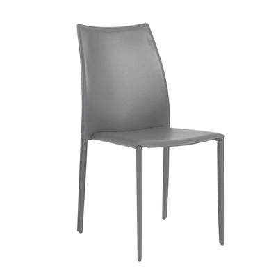 Stylish Gray Regenerated Leather Guest or Conference Chairs (Set of 4)