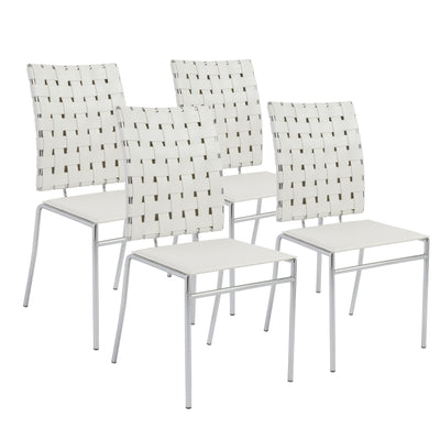 Classic White Guest or Conference Chair of Woven Leather (Set of 4)